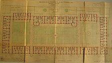 Erdgeschoss-Grundriss mit Darstellung der Außenanlagen von Eugen Steigleder (1918) / Siedlung Rotenbergstraße in 70190 Stuttgart, Stuttgart-Ost (15.07.2010)