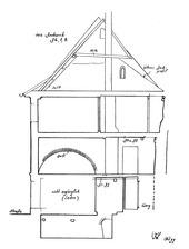 Systemskizze Querschnitt / Wohn- und Geschäftshaus in 79219 Staufen, Staufen im Breisgau (01.10.1999 - Burghard Lohrum)