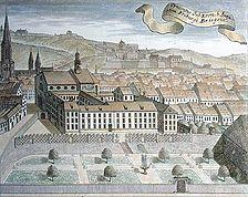 """Stich des Freiburger Augustinerklostesr von Süden um 1730, rechts daneben das schmale Haus """"zum kleinen Kameltier"""" / Haus """"Zum Kleinen Kameltier"""" in 79098 Freiburg, Altstadt"""