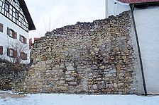Trochtelfingen, Pfarrgasse 16. Stadtmauer Feldseite. / Stadtmauer in 72818 Trochtelfingen (08.02.2011 - Michael Hermann)
