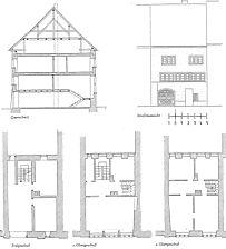 Ansicht, Querschnitt und Grundrisse der einzelnen Geschosse / Wohnhaus in 78050 Villingen (20.04.2011 - unbekannt)