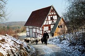 Bauernhaus im FLM; Blick gen NO / Bauernhaus aus Aichelau (Hofanlage Aichelau, Hauptbau) in 72539 Aichelau (http://www.freilichtmuseum-beuren.de/museum/rundgang/bauernhaus-aus-aichelau/)