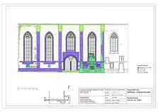 Bauphasenplan Ansicht Südseite / Hospitalkirche in 70174  Stuttgart, Stuttgart-Mitte (2012 - strebewerk. Architekten GmbH, Plangrundlage Photogrammetrie GBVD Gesellschaft für Bildverarbeitung Vermessung und Dokumentation mbH, Müllheim)