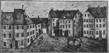 Hauptstraße mit Stadtmauerdurchlass im Hintergrund; im Vordergrund li. Haus Nr. 38 (um 1850) / Wohn- und Geschäftshaus in 79219 Staufen, Staufen im Breisgau (Stadtarchiv Staufen)