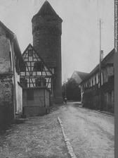 Ansicht von Südwesten (1950) / Haspelturm in 71665 Vaihingen, Vaihingen an der Enz (Bildindex Foto Marburg: LAD Baden-Württemberg, Stuttgart, Aufnahme-Nr. ladbw-p0531; Bilddatei ladbw-p0531)